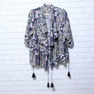 Jaase Floral Paisley Wrap Ruffle Kimono Top Large